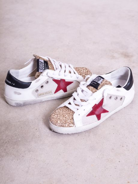 Sneakers donna Super-Star con inserto in mesh e glitter