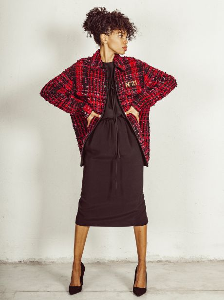 Giacca in tweed con logo