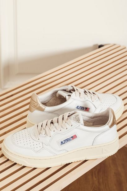 Autry Donna Sneakers medalist low in pelle bianco oro