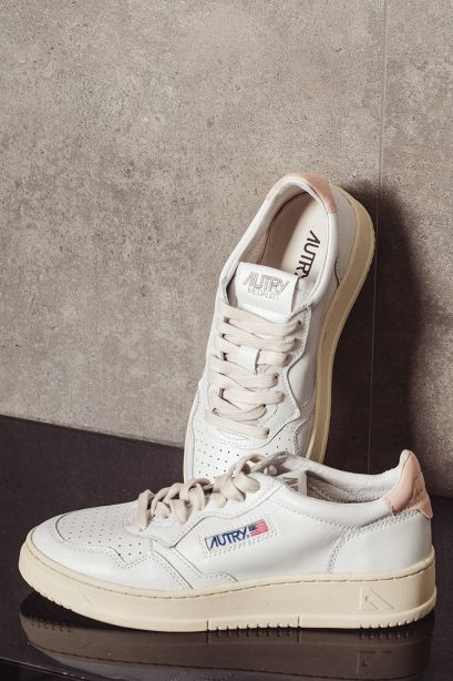 Autry Donna Sneakers medalist low in pelle bianco rosa