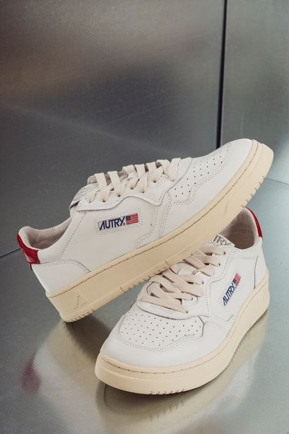 Autry Sneakers uomo medalist low in pelle bianco rosso