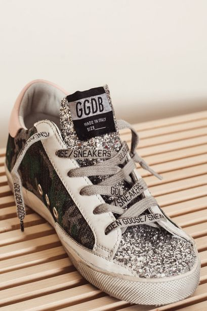 GOLDEN GOOSE Sneakers donna Super-Star camouflage con glitter