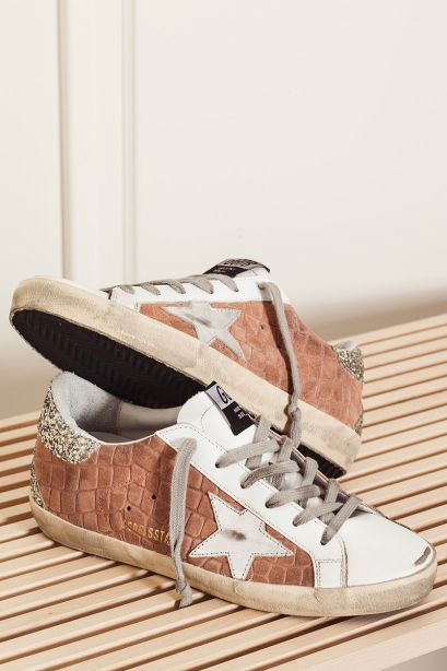 Golden Goose Donna Sneakers Superstar in suede rosa pesca con stampa corduroy