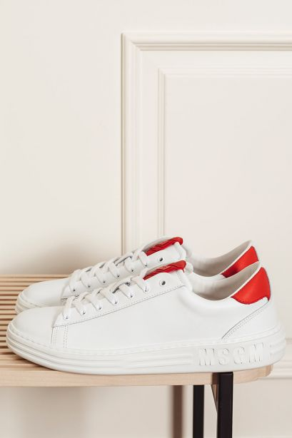 MSGM Sneakers uomo in pelle Iconic cupsole rosso