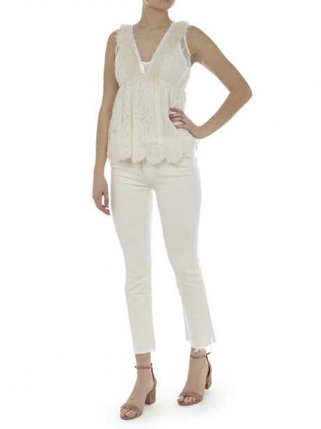 ANIYEBY Top Plumette bianco