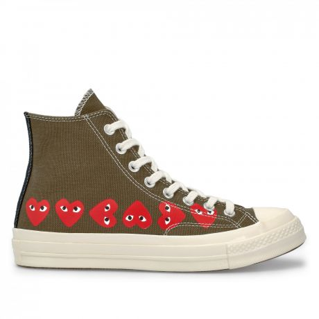 Play Comme des Garçons Converse Multi Red Heart Chuck Taylor All Star '70 High Khaki