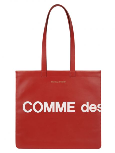 COMME DES GARCON PLAY Borsa Wallet Huge Logo Tote Bag red