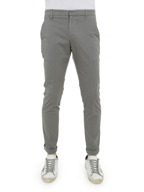 Dondup Pantalone grigio Gaubert in gabardina stretch