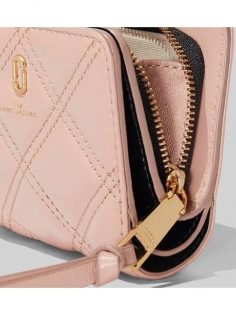 MARC JACOBS Portafoglio The quilted softshot mini compact nude