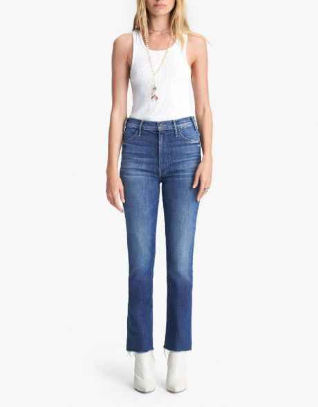 MOTHER Jeans The Hustler Ankle Fray blu