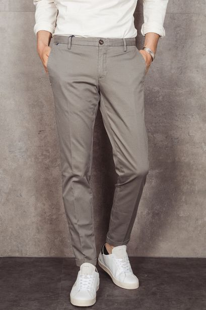 AT.P.CO. Pantalone chino beige grigio in piqué