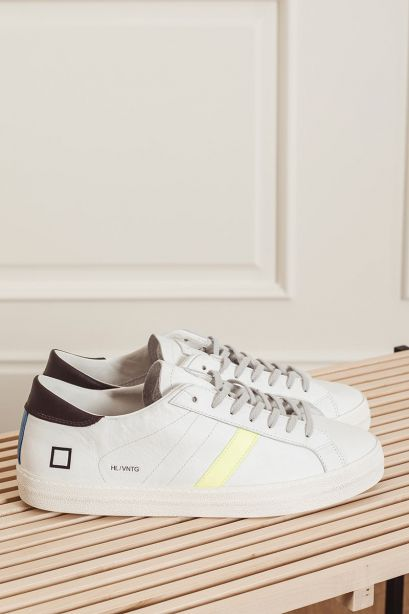 D.A.T.E. Sneakers uomo HILL LOW vintage calf white-yellow