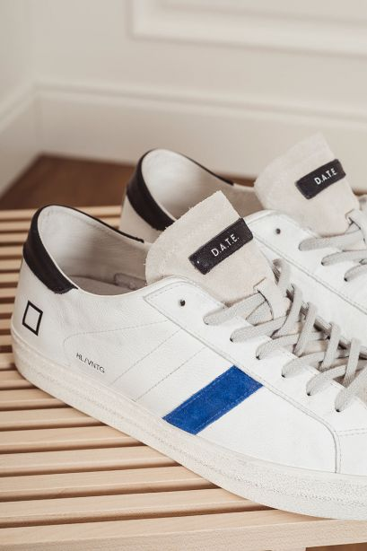 D.A.T.E. Sneakers uomo HILL LOW VINTAGE calf white-bluette