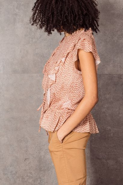 DONDUP Top in georgette stampata