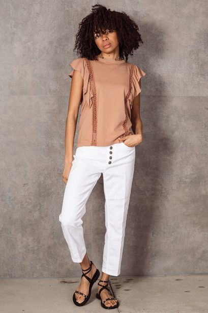 DONDUP Top in jersey terracotta