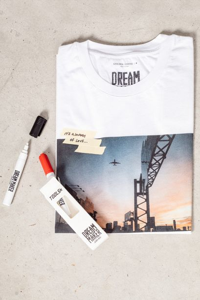 GOLDEN GOOSE T-shirt ARTU DREAM MAKER bianca