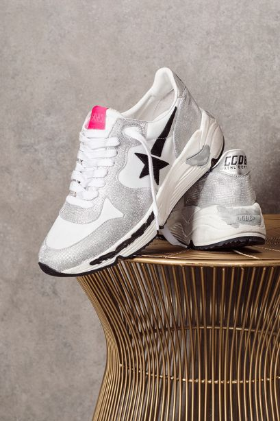 GOLDEN GOOSE Sneakers donna Running argentate e bianche