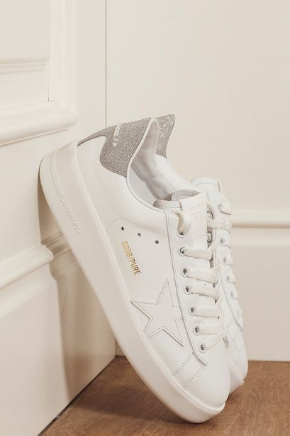 GOLDEN GOOSE Sneakers donna PURESTAR talloncino glitter argento