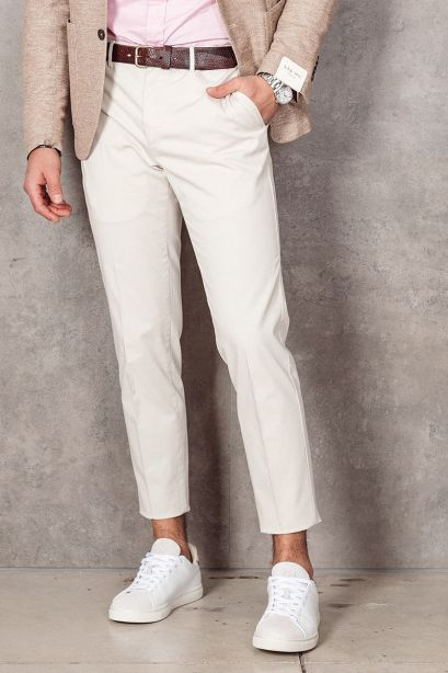 INCOTEX Pantalone slim fit in cotone stretch beige