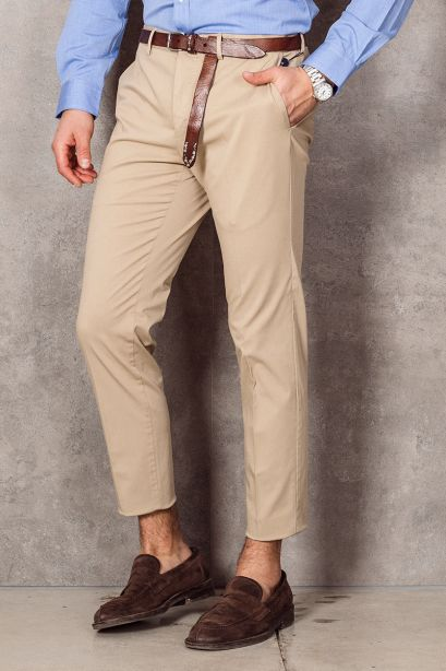 INCOTEX Pantalone slim fit in cotone stretch sabbia