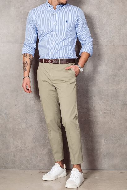 INCOTEX Pantalone slim fit in cotone stretch verde chiaro
