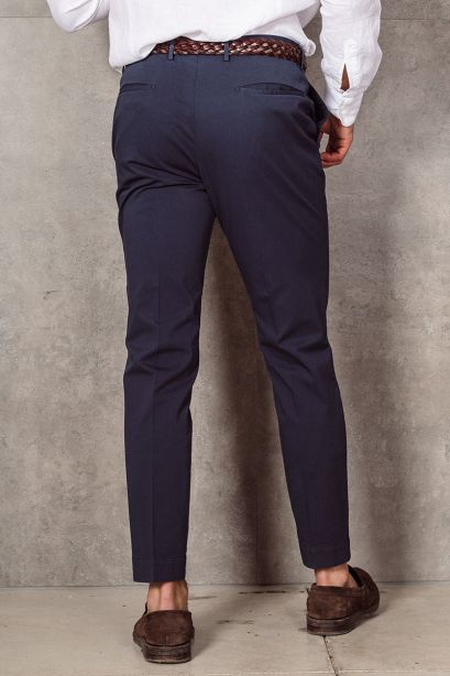INCOTEX Pantalone slim fit in cotone stretch blu