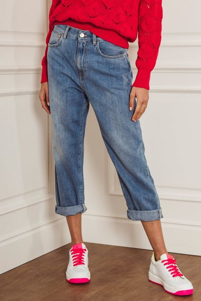 Manila Grace Pantalone barrel fit in denim