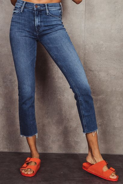 MOTHER Jeans THE MID RISE DAZZLER CROP FRAY