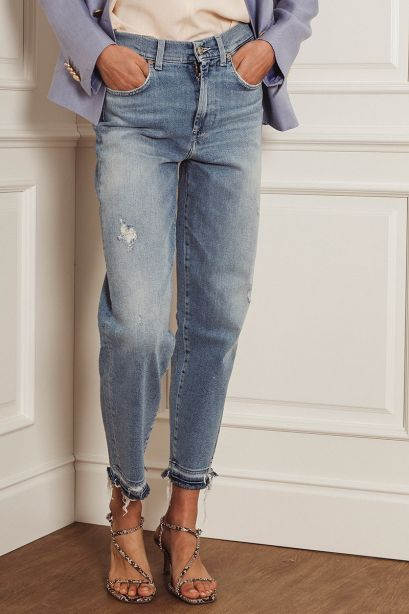 SEVEN FOR ALL MANKIND Jeans skinny crop azzurro
