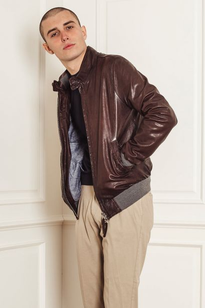 THE JACK LEATHER Giubbotto marrone in pelle