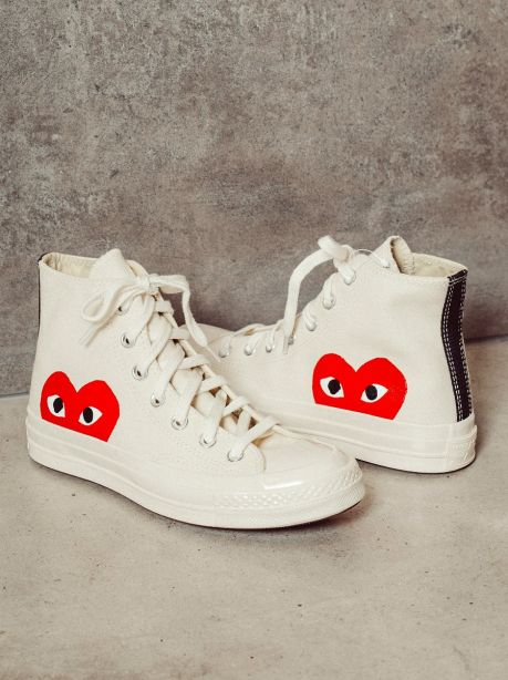 Play Comme des Garçons x Converse Red Heart Chuck Taylor All Star '70 High (White)