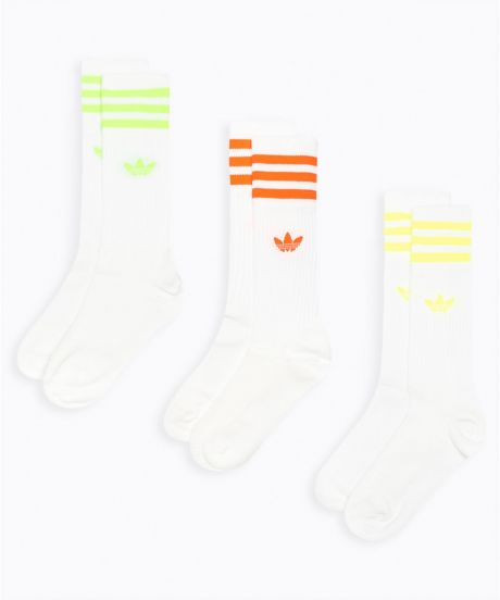 Adidas Solid Crew Socks 3 pack fluo