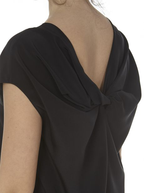 Aspesi Top nero in crepe de chine