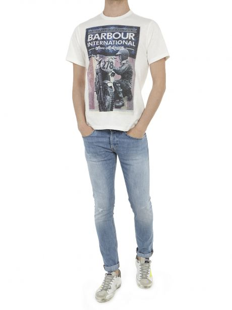 Barbour T-shirt bianca con stampa