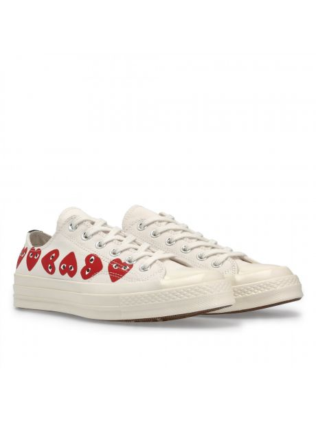 Play Comme des Garçons Converse Multi Red Heart Chuck Taylor All Star '70 Low (White)