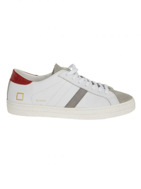 D.A.T.E. Sneakers uomo HILL LOW VINTAGE CALF WHITE RED