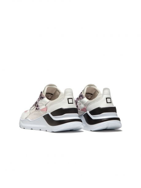 D.A.T.E. Sneakers donna Fuga satin leopard white-pink