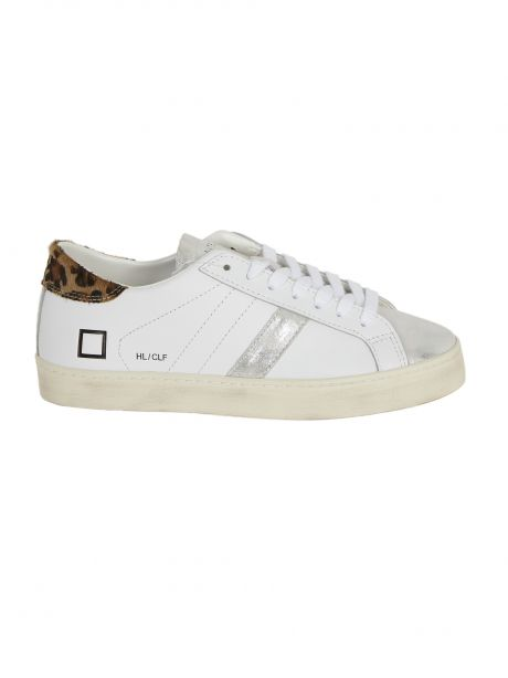D.A.T.E. Sneakers donna HILL LOW CALF WHITE-LEOPARD