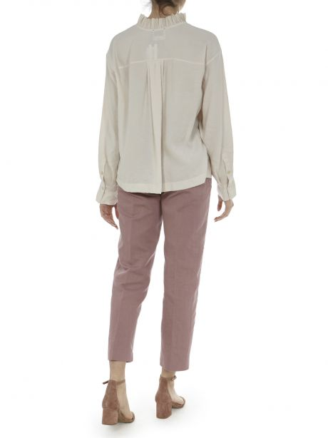 FORTE FORTE Camicia shell con ruches in tela sand washed
