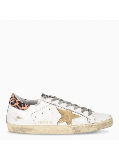 GOLDEN GOOSE Sneakers Donna Superstar bianca/stella oro/leopard