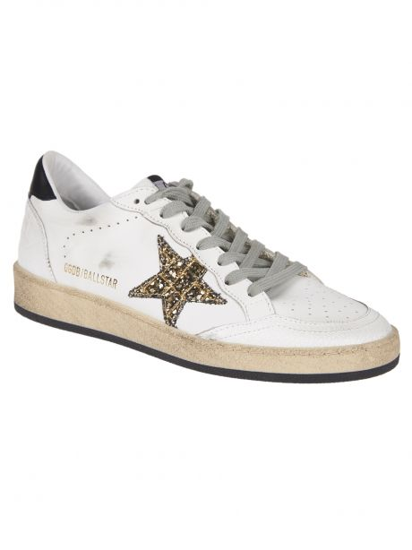 GOLDEN GOOSE Sneakers Donna Ball Star bianca/stella glitter/nero