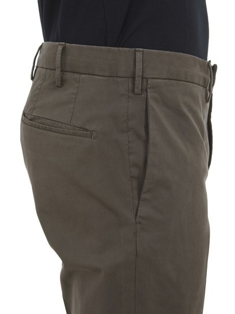 INCOTEX Pantalone marrone tight fit in lyocell bistretch e cotone