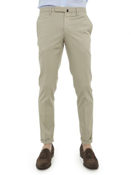 INCOTEX Pantalone beige tight fit in lyocell bistretch e cotone