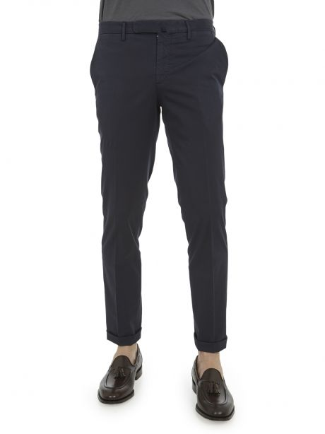 INCOTEX Pantalone blu tight fit in lyocell bistretch e cotone