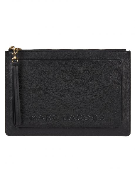 MARC JACOBS THE TEXTURED BOX LARGE POUCH nero