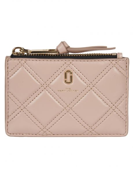 MARC JACOBS Portafoglio THE QUILTED SOFTSHOT TOP ZIP MULTI WALLET rosa