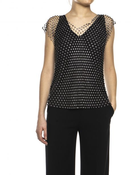Pinko Top nero in rete di strass