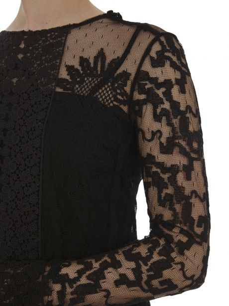 RED Valentino Blusa nera in pizzo floreale
