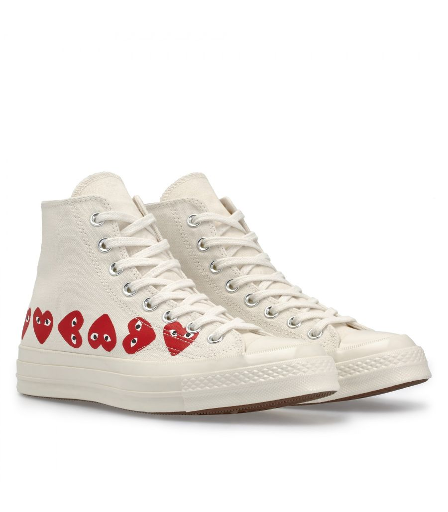 Play Comme des Garçons x Converse Multi Red Heart Chuck Taylor All Star '70 High (White)